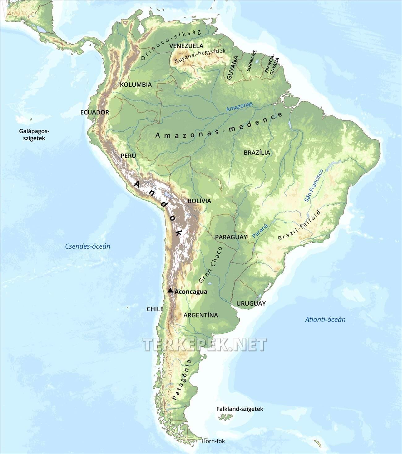 dél amerika térkép Dél Amerika domborzati térképe dél amerika térkép